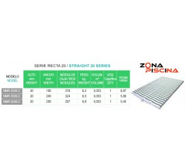 Rejilla rebosadero piscina Kripsol / Hayward NMR serie recta 20