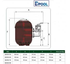 Filtro piscina laminado de poliéster con fibra de vidrio Baiona