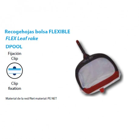 Recogehojas bolsa fondo flexible fijacion clip para piscinas