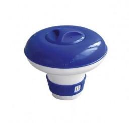 Dosificador flotante para pastillas de cloro piscinas con rejilla inferior regulable