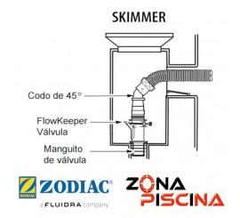 Repuesto codo conector 45º para Skimmers limpia fondos Zodiac W70244.