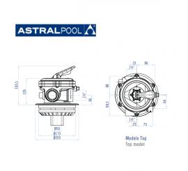"""Valvula selectora top / superior de 1½"""" 34546 Flat Top de AstralPool"""