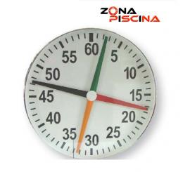 Cronometro inoxidable de cuatro agujas para piscina de competición.