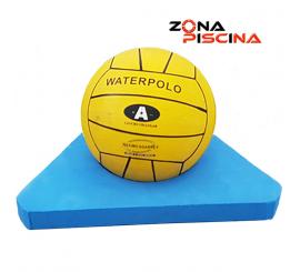 Soporte balon de campeonato con cuerda waterpolo para piscinas de competicion