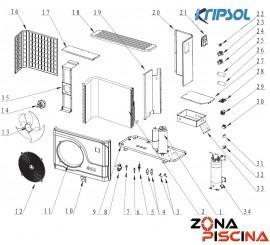 Recambios bomba de calor KOMFORT RC1900 KRIPSOL