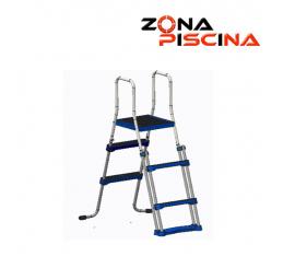Escalera seguridad con plataforma piscinas portatiles desmontables