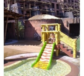 Plataforma parques infantiles mod. de bambu con tobogan