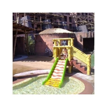 Plataforma parques infantiles mod de bambu con tobogan - Piscina infantil con tobogan ...