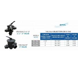 Valvula selectora lateral 6  vias KRIPSOL para filtro piscinas