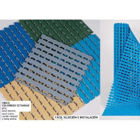 Suelo y losetas enrollable antideslizante para piscinas y vestuarios.