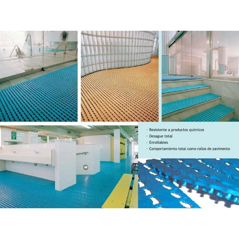 Suelo losetas enrollable antideslizante para piscinas for Suelos antideslizantes para piscinas